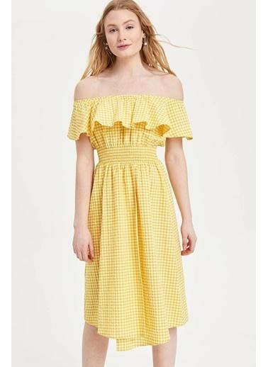 DeFacto Kareli Straplez Yaka Slim Fit Elbise Sarı